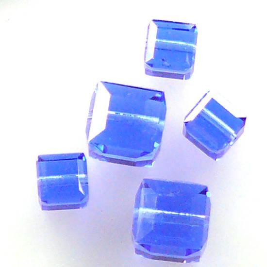 6mm Swarovski Crystal Cube, Sapphire