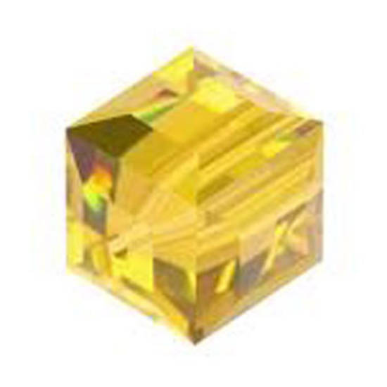 6mm Swarovski Crystal Cube,Topaz light