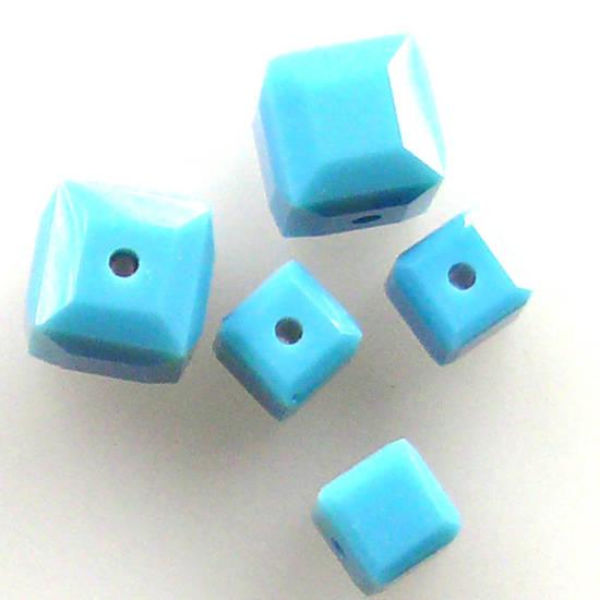 6mm Swarovski Crystal Cube, Turquoise