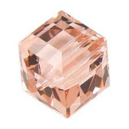 6mm  Swarovski Crystal Cube, Vintage Rose