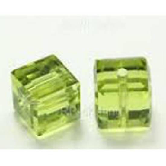6mm Swarovski Crystal Cube, Olivine light