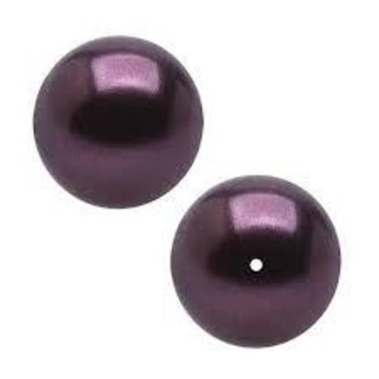 4mm Round Swarovski Pearl, Burgandy