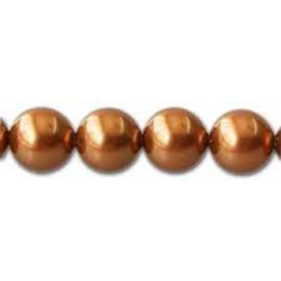 4mm Round Swarovski Pearl, Copper