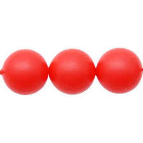 12mm Round Swarovski Pearl, Neon Red
