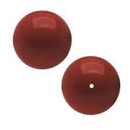 12mm Round Swarovski Pearl, Red Coral