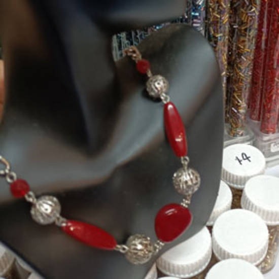 SAMPLE PIECE: Linked Chain Necklace - Red and Silver