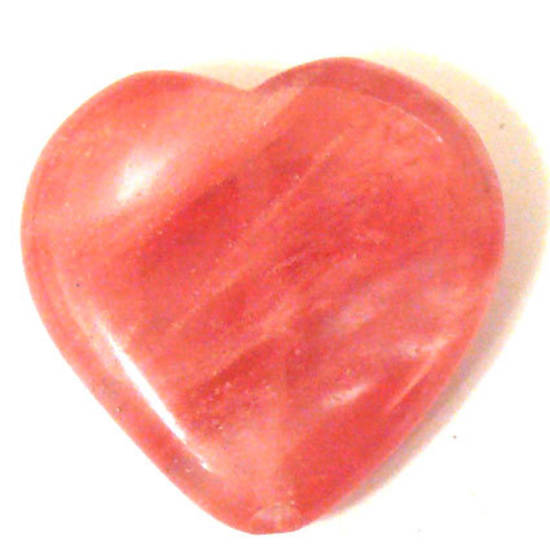 Cherry Quartz, heart, 24mm