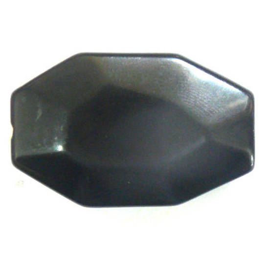Black Agate Faceted Flat Oval, 35mm x 22mm
