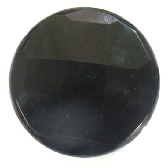 Large Black Onyx Faceted Disc, 44mm