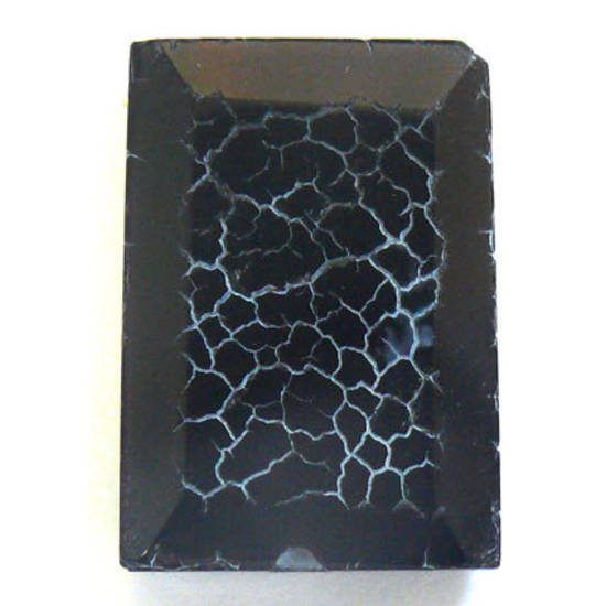 Black Fire Agate rectangle with bevelled edge, 18mm x 24mm