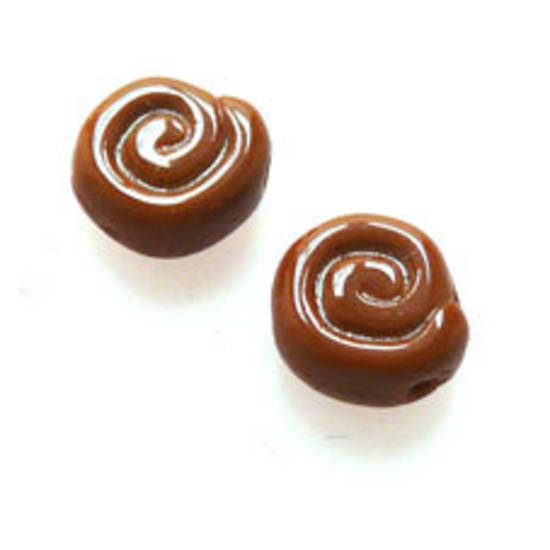 NEW! Glass Snail Shell Bead, 8mm - Opaque Brown