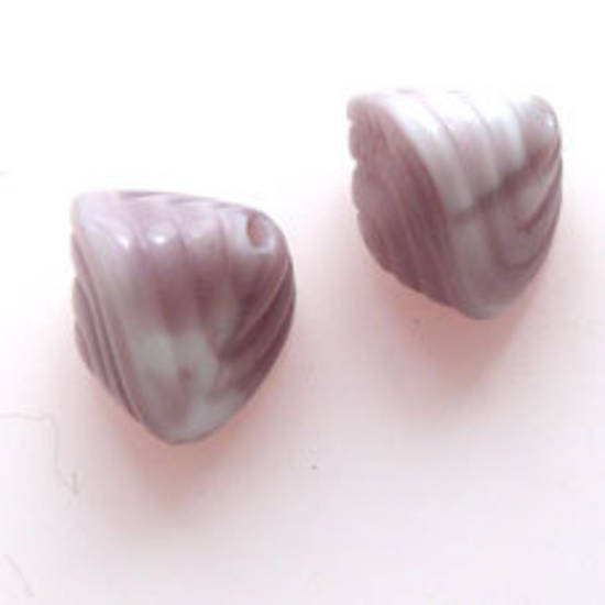 NEW! Glass Shell Bead, 13mm x 16mm - White/Purple Opaque