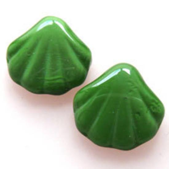 NEW! Glass Shell Bead, 14mm - Opaque Green