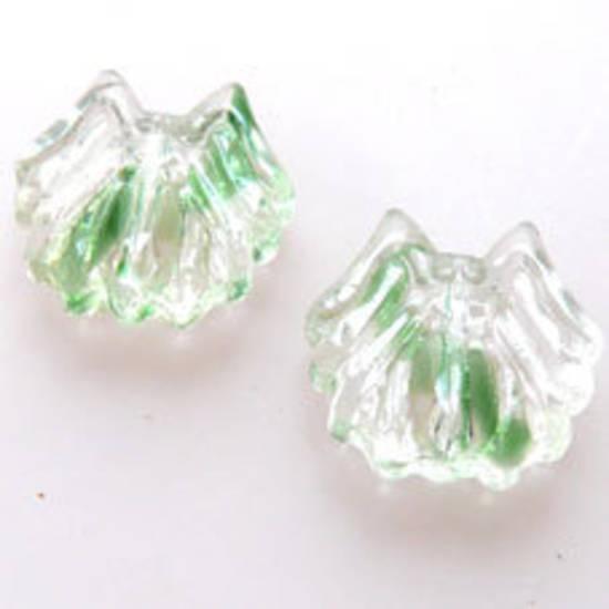 NEW! Glass Spider Bead, 14mm - Green/Transparent Mix