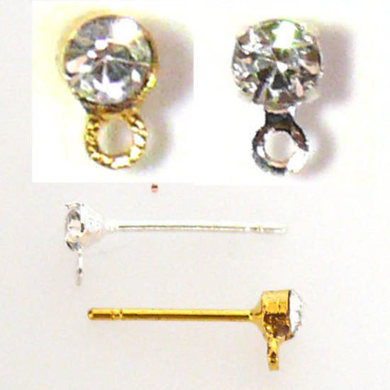 Diamante Stud Drop, one pair with butterflies