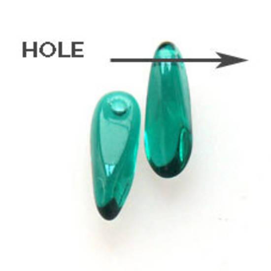 Dagger Bead, 3mm x 10mm: Emerald