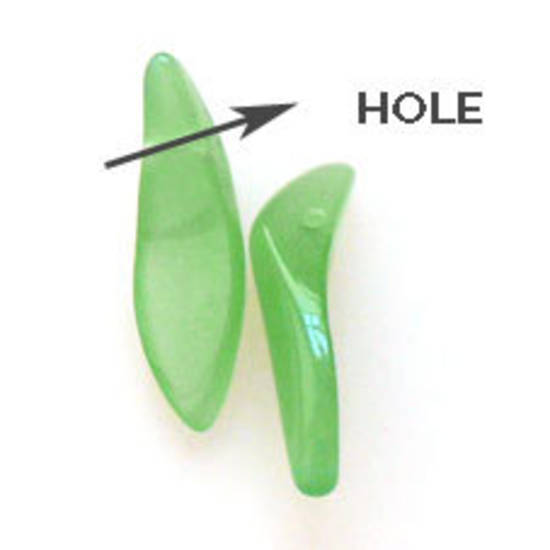 Curved Dagger Bead, 5mm x 18mm x 4mm: Opaque Green