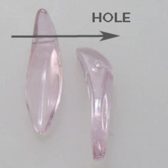 Curved Dagger Bead, 5mm x 18mm x 4mm: Light Pink