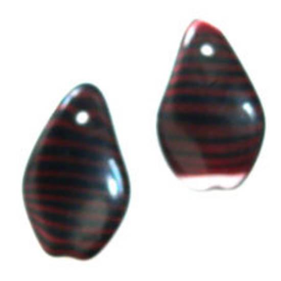 NEW! Flat Twist, 10mm x 16mm - Black/Red Stripe.