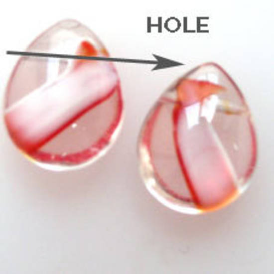 NEW! Flat Fat Drop, 13mm x 15mm - Red/White transparent