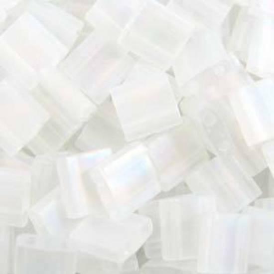 Tila Bead, 5mm, Matte Transparent Crystal AB