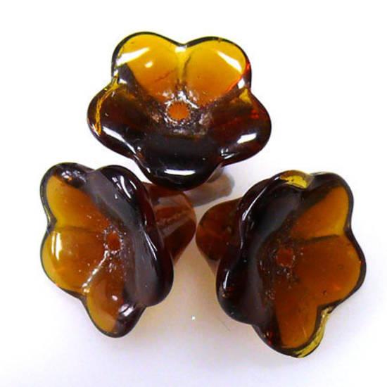 Chinese Trumpet Flower, 12mm - Dark amber/brown
