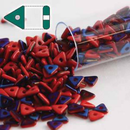 Czech Tri Bead: Opaque Red Azuro