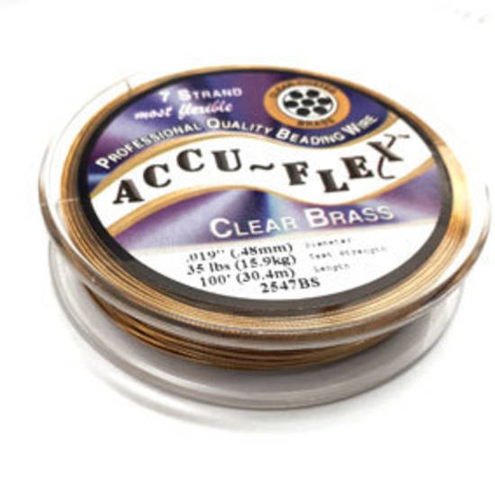 Accuflex Beading Wire: 30m roll - Clear Brass (gold)