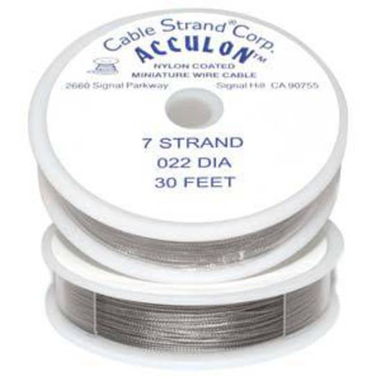 Acculon Tigertail Wire: 9m roll - Clear (silver grey), med/heavy .022 diameter