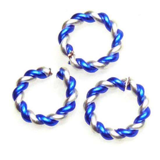 Twisted Jumpring, silver/capri blue