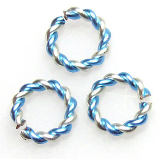 Twisted Jumpring, silver/ice blue