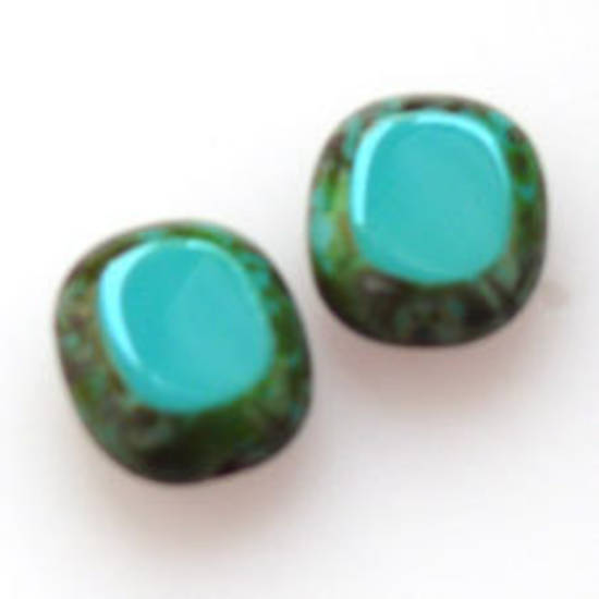 Window Bead, 14mm x 12mm - Turquoise