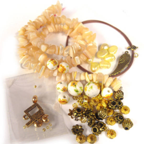 KITSET: Wrapped Bracelet: Mother of Pearl and Porcelain