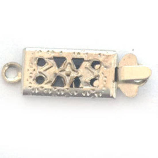 Box Clasp: Imprinted rectangular - antique silver