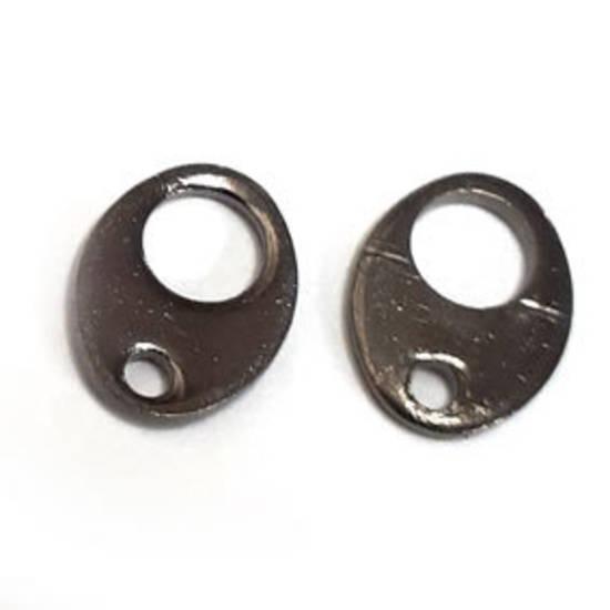Tab Clasp End: Gunmetal, oval shape.