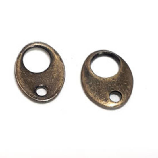 Tab Clasp End: Antique Brass, oval shape.