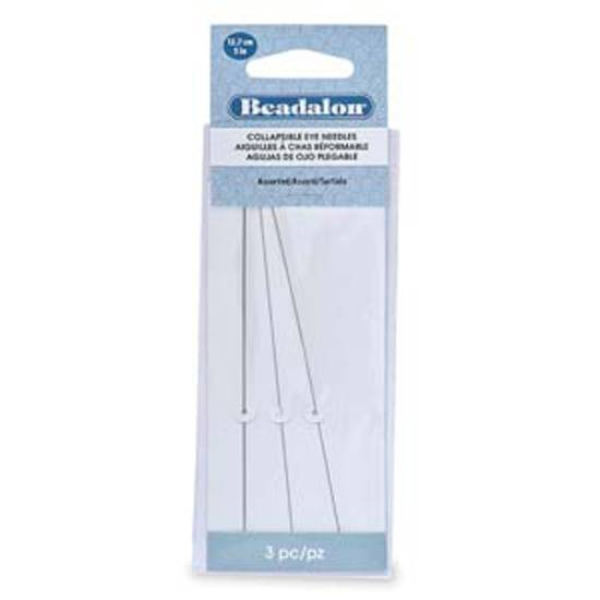 NEW! Beadalon Collapsible Eye Needle, 12.7cm long: assorted 3 pack (fine, med, thick)