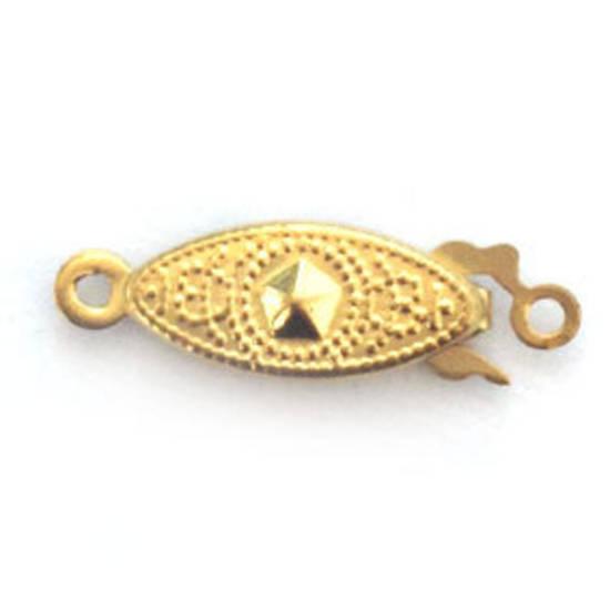 Fish Clasp: Imprinted design, gold.