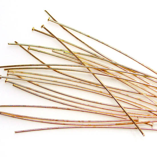 Long (7.6cm) Standard Headpin (21g) - Gold plate