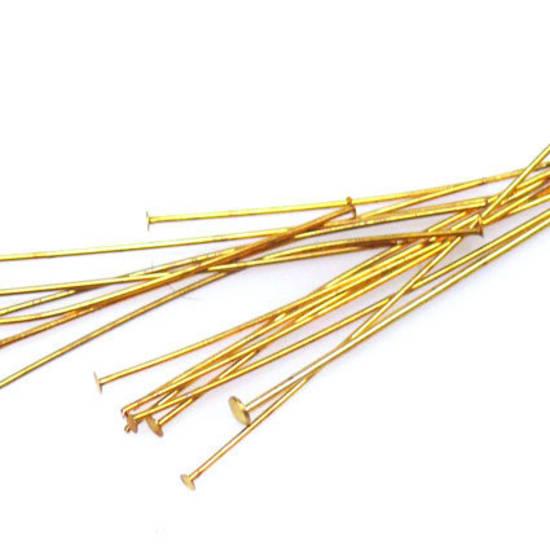 Short (40mm) Standard Headpin (21g) - Gold plate