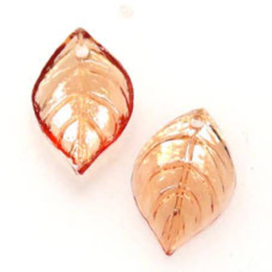 NEW! Acrylic Leaf, 9mm x 15mm - Amber