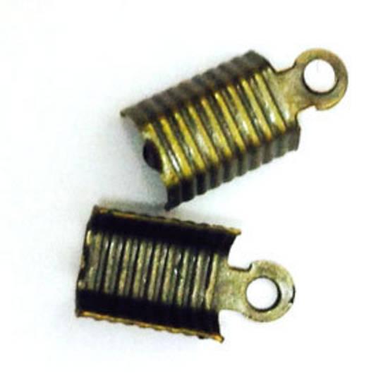 Fold Over Crimp (leatherend) - large, 7mm: Antique Brass