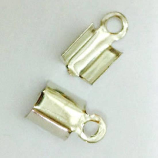 Fold Over Crimp (leatherend) - regular, 5mm: Antique Silver