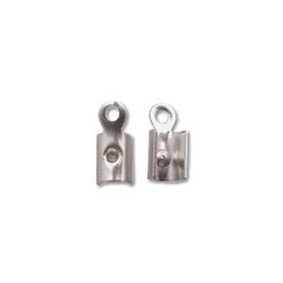 Fold Over Crimp (leatherend) - regular, 4.5mm: Ant Silver, no prong