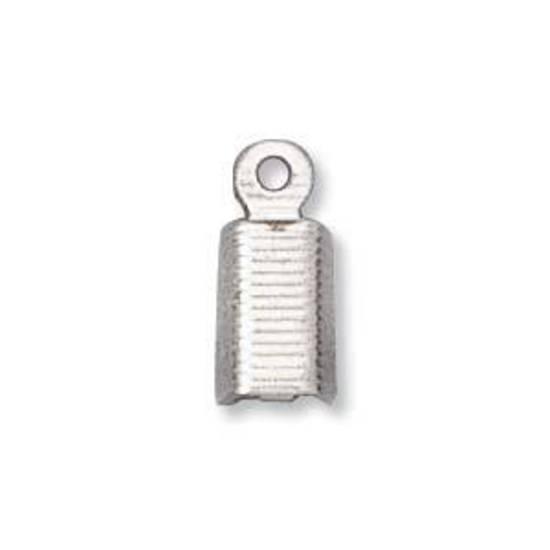 Fold Over Crimp (leatherend) - large, 7mm: Antique Silver