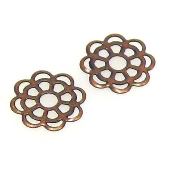 Metal Bead: Flat Openwork Daisy - copper