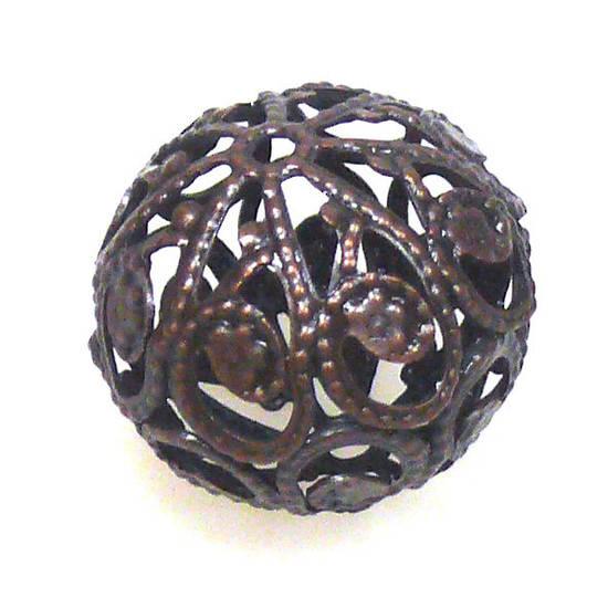 Metal Bead, large open copper filigree ball