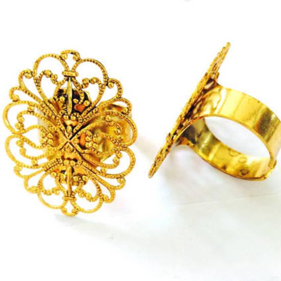 Filigree Ring Base - Gold