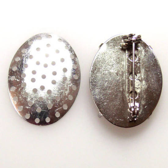 Oval Brooch Back, sew on, antique silver