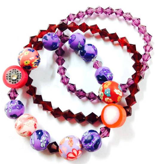 KITSET: Stacked Bracelets: Purply Fimo